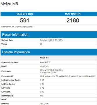 TechnoBlitz.it Meizu M5 confermate le specifiche su Geekbench