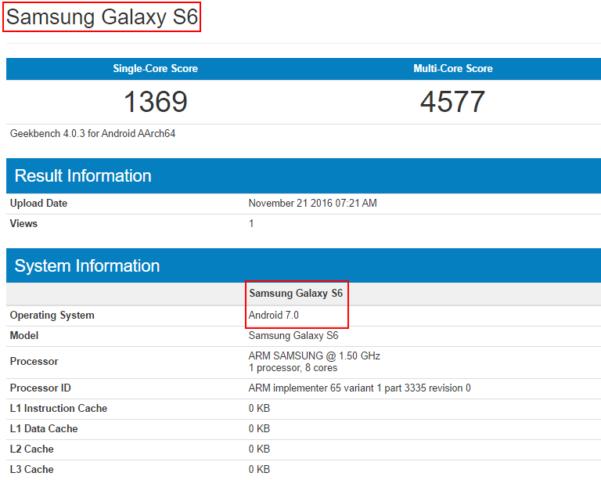 Galaxy S6 con Android 7.0 in test su GFXBench!