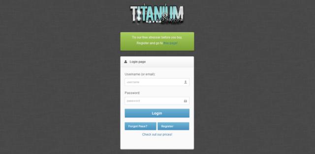 Pagina di login del Titanium Stresser.