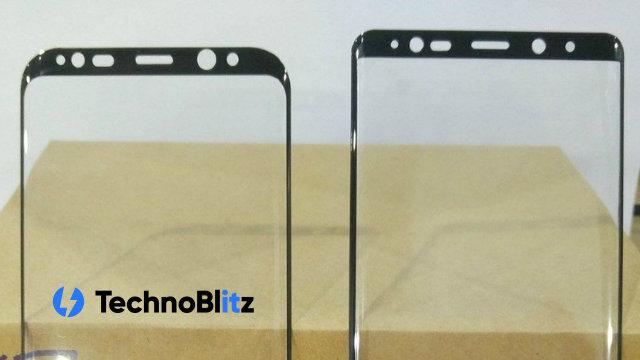 Una foto compara il pannello anteriore del Galaxy Note 8 con S8+